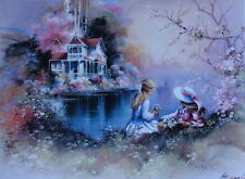 ANDRES ORPINAS Girls flowers water victorian house 2