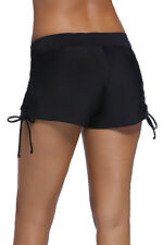 Womens Full Coverage Tricot Swim Shorts Solid Color Scrunch Sides Stretchy S-3XL