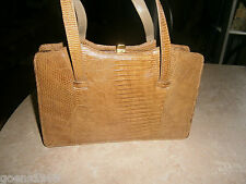 Vtg 6 Compartment Reptile Alligator Crocodile Lizard Handbag Caramel Color