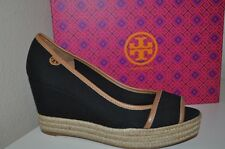 NIB $225 Tory Burch MAJORCA Logo Wedge Sandal Shoe Black Canvas Brown Trim Sz 10