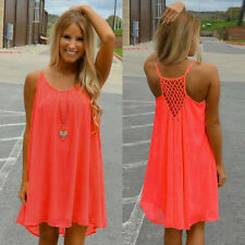 Fashion Women Spaghetti Strap Chiffon Back Howllow Out Summer Beach Short Dress