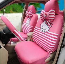 ** 18 Piece Pink and White Stripy Hello Kitty Car Seat Covers **