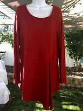 Cable & Gauge Women's XL Paprika Red Ribbed Asymmetrical LS Knit Tunic Top NWT