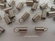 LOT 40 EMBOUTS SERRE FIL RESSORT METAL ARGENTE 10 x 4 mm CREATION BIJOUX PERLE