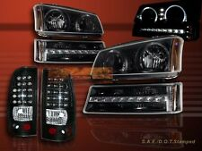 2003-2006 CHEVY SILVERADO LED HALO HEADLIGHTS BLK / LED BUMPER / LED TAIL LIGHTS