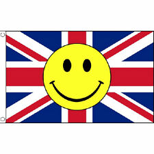 Union Jack Smiley Face Flag 5Ft X 3Ft Great Britain Uk Jubilee British Banner
