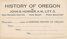 1919 Postcard Order for History of Oregon, John B. Horner Book, JK Gill Co.