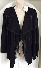 ZARA BLACK KNIT CARDIGAN COAT WITH FAUX LEATHER FRINGING SIZE M 10 12 UK BLOGS