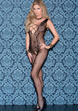 Cross FR Fishnet Body Stocking W/Floral Pattern (Black;One Size)