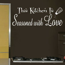 This Kitchen is Seasoned with Love Vinyl Sticker Decal for Wall Decor Black