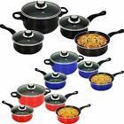 7PC COOKWARE SET STEEL NON STICK GLASS LID KITCHEN PAN POT SAUCEPAN NEW CARBON