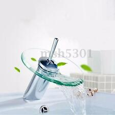 Chrome Glass Waterfall Bathroom Sink Vessel Faucet Kitchen Bathroom Basin Handle