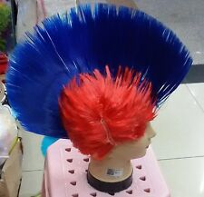Blue Mohican Mohawk Wig Punk Rocker Wigs Fancy Party Dress Costume Stag Do Hen