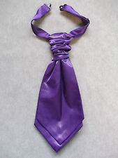 NEW BOYS SILKY RUCHE PRE TIED CRAVAT ADJUSTABLE WEDDING PAGE PURPLE AGE 2-8
