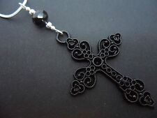 "A LOVELY   LARGE BLACK CROSS/CRUCIFIX NECKLACE ON 18"" SNAKE CHAIN. NEW."