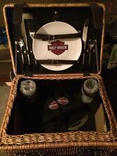 RARE Harley-Davidson Champion Suitcase-Style Picnic Basket Service for 2