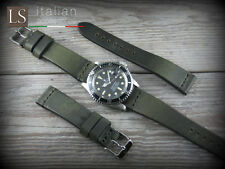 Cinturino in Pelle Vintage ILLINOIS 20 mm Watch Strap Band Verde petrolio