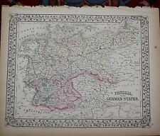 Prussia and German States Rare Original Antique 1870 Mitchell's Atlas Map