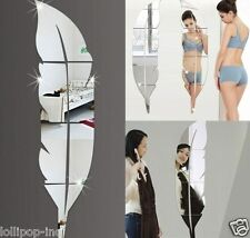 Modern Plume Feather Style Acrylic Mirror Wall Stickers Room Decoration Creative