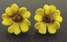 Hand Made Flower Earrings Made From Leather Yellow