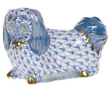 Herend, Pekingese Dog Porcelain Figurine, Blue Fishnet, Flawless, Retail $425