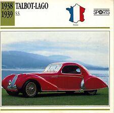 """TALBOT-LAGO 1938-1939 """" S.S.""""  ADVERTISING BROCHURE"""