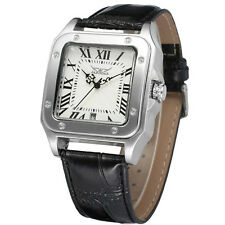 JARAGAR New Fashion Square Automatic Mechanical Calendar Men Leather Wrist Watch