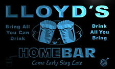 p162-b Lloyd's Personalized Home Bar Beer Family Name Neon Light Sign