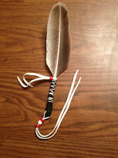 native americanmade faux hawk eagle reglia feather hair hat tie leather& fringe