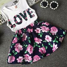 FASHION Girls Love Letters Printed Sleeveless Vest Floral Skirt Set Clothes 120