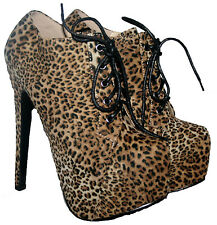 "LADIES 6"" HEEL LEOPARD PRINT LACE UP SHOE/BOOT WITH CONCEALED PLATFORM IN SIZE 4"