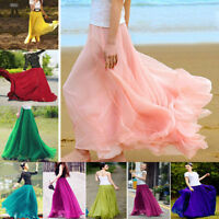 Women Elegant Chiffon Elastic Waist Band Beach Long Maxi Skirts Dress 6 8 10 12