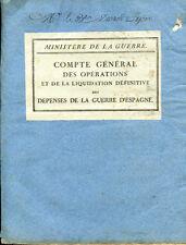 DEPENSES DE L'EXPEDITION D'ESPAGNE de 1823, Compte Général des Opérations, 1826