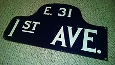 NYC PORCELAIN EAST 31 STREET 1ST AVE MANHATTAN HUMPBACK SIGN TRENDY MIDTOWN NY
