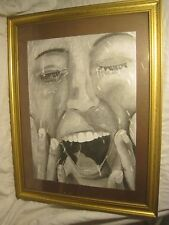 large framed drawing close up woman's face woman lady art ? original pencil rend