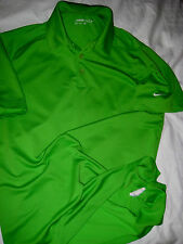 NIKE GOLF FIT-DRY HIGH VISIBILTY LIME GREEN VENT EMBROIDERED LOGO POLO SHIRT- M