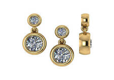 1.78 ct D SI2 round natural diamond bezel  stud dangle earrings 14k yellow gold