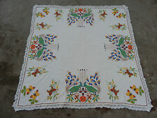 Vintage Hand Embroidered Table Cover Needle Point 120X120cm (X67)