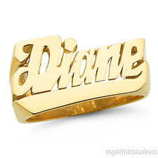 Personalized Name Ring - Unisex Script Style    10mm Yellow Gold Plated