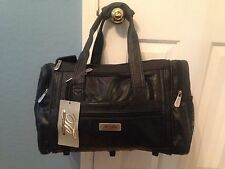Leather NEW duffel bag, Gym Bag, Day Bag. W/shoulder Strap. Color Black