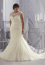 Sexy White Ivory Plus Size Wedding Dress Gown Custom Size 16 18 20 22 24 26 28