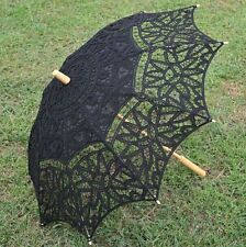 Battenburg Black Lace Cotton Wood Handle Embroidery Wedding Umbrella Sun Parasol