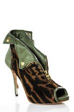 Alexander McQueen Green Brown Pony Hair Leather Faithful Booties Size 41 11
