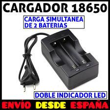 CARGADOR DOBLE DE BATERIAS PILAS RECARGABLES 18650