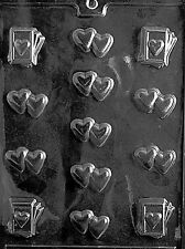 BS DOUBLE HEART PIECES & CARDS mold Chocolate Candy making valentines hearts