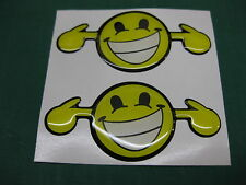 2 DOMED LOUD SMILEY STICKERS v002 75mm x 35mm