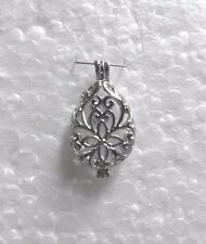 Shiny Silver-Plated Filigree Teardrop Flower and Swirl Cage Aromatherapy Locket