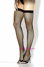 CLASSIC BLACK FISHNET Thigh High STOCKINGS Solid Stretch Top for garters OS