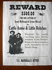 """(783) OLD WEST OUTLAW CATTLE ANNIE LITTLE BRITCHES REWARD REPRINT POSTER 11""""x14"""""""
