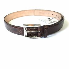 NWT $890 Gucci Men's Dark Brown Genuine Crocodile Leather Belt 36 90 AUTHENTIC